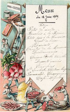 French menu 1909 beautiful litho from Paris Hotel Boutique