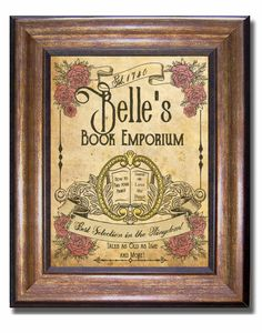 One of a kind Beauty and the Beast Print! This is a unique Disney print featuring Belles Books emporium. Print is on premium, matte finish professional paper. This one of a kind print is designed by yours truly using a unique vintage style. Available in multiple sizes: 11x14, 8x10, 5x7, and 4x6 (inches). Please note that different computer monitors will display images a little differently with regards to colors, lighter/darker shades etc, so what you see on your screen may vary slightly…