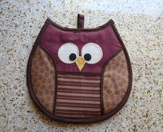 Owl Pot Holder burgundy tan brown by BubbleGumKitty on Etsy