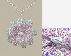 Pendant in platinum with sapphires, demantoids and diamonds. | Tiffany & Co.