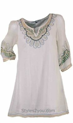 Blue Tassel Clothing Peacock Embroidered Silk Tunic
