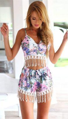 Pink Floral Print Tassel Crop Top Shorts Matching Sets