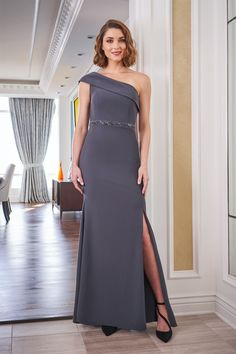 J225051 One Shoulder Stretch Soft Crepe Mothers Dress with Side Slit and Beaded Waistline Mother Of The Bride Fashion, Mother Of The Bride Gown, Mob Dresses, Bridal Dresses, Chiffon Dress, Lace Dress, Jade Couture, Jasmine Bridal, Mothers Dresses