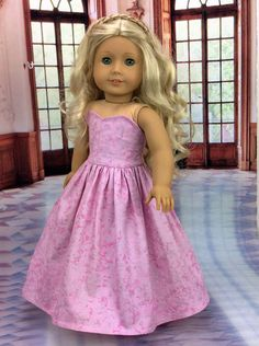 Pink ball gown dress by HoschPoschCreations on Etsy. Made from the LJC Blossom Dress pattern. Get it here http://www.pixiefaire.com/products/blossom-dress-pattern-18-dolls. #pixiefaire #libertyjane #blossomdress                                                                                                                                                      More
