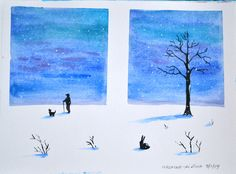 """Watercolor winter scene on paper - Learn to paint a """"Winter night"""" using watercolors on paper. Use this watercolor painting video and be an artist. Watercolor Art Landscape, Watercolor Art Lessons, Watercolor Art Diy, Watercolor Art Paintings, Nature Paintings, Easy Paintings, Watercolors, Videos Tumblr, Painting Videos"""