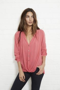 Classic Button Up :: Velvet by Graham & Spencer ::Button Up Drape Blouse