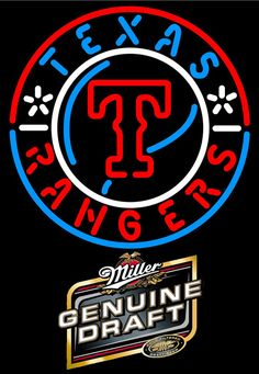 Miller Genuine Draft Texas Rangers MLB Neon Sign 3 0010, Miller MGD with MLB Neon Signs | Beer with Sports Signs. Makes a great gift. High impact, eye catching, real glass tube neon sign. In stock. Ships in 5 days or less. Brand New Indoor Neon Sign. Neon Tube thickness is 9MM. All Neon Signs have 1 year warranty and 0% breakage guarantee. Texas Rangers Logo, Raiders Helmet, Rangers Gear, Neon Light, Neon Beer Signs, Sports Signs, Miller High Life, Texas Tech Red Raiders, Sign Lighting