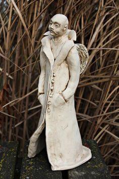 #angelceramic #angel #angelstanding #ceramika #standingangel #angelinduster #whiteangel #manangel #ceramicangel #handmade #rękodzieło