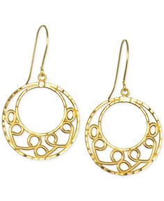 Open Circle Detailed Drop Earrings in 10k Gold