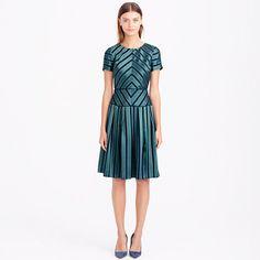 "We never met a stripe we didn't like. Made from a lustrous blend of satin and silk, the fabric features a chevron pattern for an elongating effect (we love it when that happens). <ul><li>A-line silhouette.</li><li>Falls to knee, 38 3/4"" from high point of shoulder (based off size 6).</li><li>Silk.</li><li>Back zip.</li><li>Lined.</li><li>Dry clean.</li><li>Import.</li></ul>"