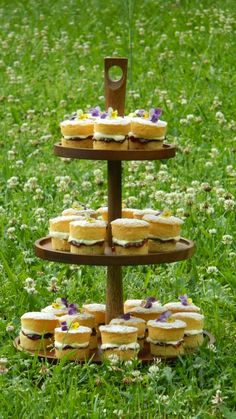 'Pride & Joy Cakes' - Mini Victoria sponge cakes - vanilla sponge sandwiched with home-made strawberry jam and whipped cream, lightly dusted with icing sugar and decorated with edible Viola flowers picked fresh from the garden. https://www.facebook.com/341359299279171/photos/pcb.886220148126414/886217938126635/?type=3&theater