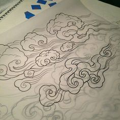 Tibetan clouds-must incorporate this into my snow leopard tattoo design! Wind Tattoo, Smoke Tattoo, Kunst Tattoos, Body Art Tattoos, Sleeve Tattoos, Cloud Tattoo Sleeve, Irezumi Tattoos, Tattoo Art, Tibetan Tattoo