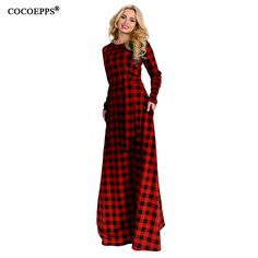 6XL elegant maxi Plaid Women Dress big size 2018 Spring Summer Plus Size  long dress Long 71818ee977d6