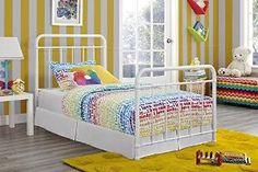 DHP Brooklyn Iron Bed with Headboard and Footboard (Slats Included), Twin, White $175