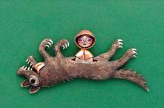 Kazuma Nagai | Little Red Riding Hood (2012) Brooch . Silver . Copper .  Pink Sapphire . Black Coral . Hippopotamus's Tooth . 58㎜×27㎜