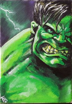 "The Hulk in acrylic paint. Second in an ""Avengers"" series of three. My personal favourite Avenger!"
