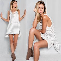 MYCA lace up sleeveless top - OFF WHITE Flirtatious and adorable. Lace up with this striped front tie deep v-neck top. Hi-low hems and side slits.  Match with pair of shorts or even a mini skirt !  *Wash Cold Fabric 96% Rayon, 4%Spandex Made in USA Bellanblue Tops Blouses