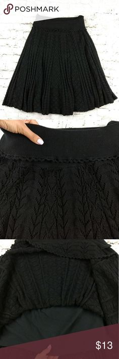 Anthropologie MOTH Black Pointelle Sweater Skirt L Anthropologie MOTH Black Pointelle Sweater Skirt Size Largr Womens L Lined Black knit pointelle flare skirt with elastic waist. Lined. 100% cotton. EUC Anthropologie Skirts Midi