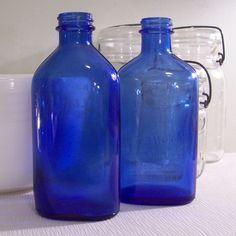 Vintage Phillips Cobalt Blue Glass Bottle Milk by BarnFlyVintage, $14.95