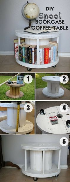 Check out how easy it is to build this DIY Spool Bookcase Coffee Table Industry Standard Design Furniture Projects, Home Projects, Diy Furniture, Craft Projects, Ideias Diy, Diy Coffee Table, Diy Table, Home Decor Accessories, Woodworking Plans