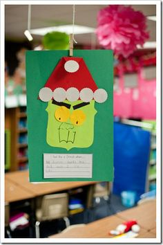 "Grinch day-- read the story, have grinch punch, who pudding (vanilla pudding turned green), write ""I feel like a grinch when I.."", Watch the grich movie, have grinch cookies and write up a huge grinch adjective poster... love it!"