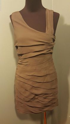 Aqua Olive Green Ruched Pleated Fitted Sleeveless Evening Party Dress XS Euc #Aqua #EveningPartyDress #Cocktail $12.99 FREE SHIP