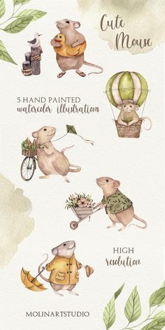 Cute Animal Illustration, Watercolor Illustration, Watercolour, Funny Mouse, Cute Mouse, Tatty Teddy, Cute Animals Images, Bear Drawing, Cute Clipart