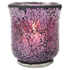 Mosaic glass votive holder.   Product: Votive holderConstruction Material: GlassColor: Plum
