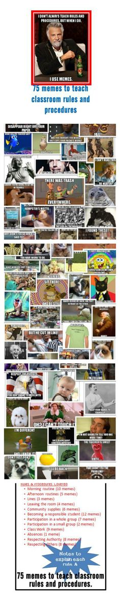 Teach your students rules and procedures in a super fun way using memes! 75 memes are included and each has an explanation of the rule or procedure. SO FUN!!!!