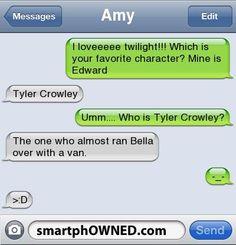 Bwahahahahahahahaha! I hate that movie! I think he's my favorite too