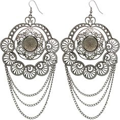 It's time to dress up and get fancy in your favorite earrings. From elegant to classy these crescent earrings are sure to standout. Studded with a centered rhinestone and pewter filigree cutout metal. The drop down chains dangle with movement, while still being lightweight and flowy.