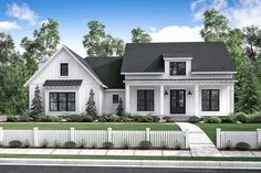 There's no shortage of curb appeal for this beautiful 3 bedroom modern farmhouse plan. The formal entry and dining room open into a large open living area with raised ceilings and brick accent wall. T
