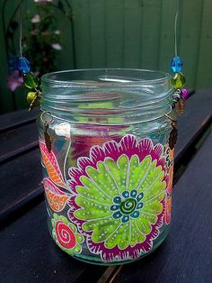 Upcycled hand painted mason jar tea light lantern by Dollyplops, £12.00