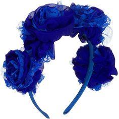 Vjera Vilicnik - Carnation Headband Blue ($52) ❤ liked on Polyvore featuring accessories, hair accessories, headband hair accessories, head wrap headband, lace headbands, floral headbands and flower headbands
