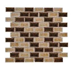 crackle glass mosaic backsplash