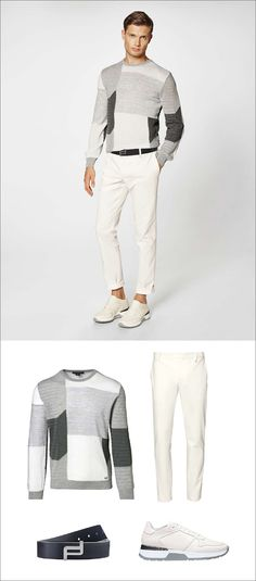Men's Fashion Ideas - 17 Men's Outfits From Porsche Design's 2017 Spring/Summer Collection | A neutral color blocked sweater, white cotton blend pants, a simple navy leather belt and off white sneakers create the perfect casual spring outfit for men.