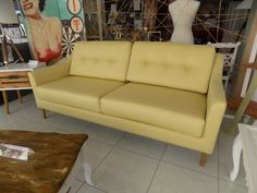 Retro style three seater sofa in light yellow color. Two seater also available. Custom-made piece, which can be modified according to preferred dimensions, foams and fabrics!