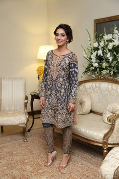 Latest Party Wear Embroidered Shirt Designs with Trousers- Pants Collection Pakistani Wedding Outfits, Pakistani Dresses, Indian Dresses, Indian Outfits, Emo Outfits, Pakistani Couture, Indian Couture, Ethnic Fashion, Asian Fashion