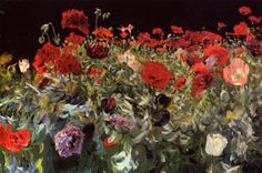 Poppies, 1886 by John Singer Sargent. Realism. landscape. Private Collection