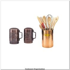 Copper Cookware Home Decor Old Dutch Hammered Tool Caddy with 8-Piece Kitchen Utensils Come with Large Salt and Pepper Shakers with Handles>>> You can find out more details at the link of the image.(It is Amazon affiliate link) #cookwareorganization