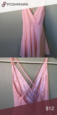 light pink dress light pink criss cross back flowy short dress Dresses Mini