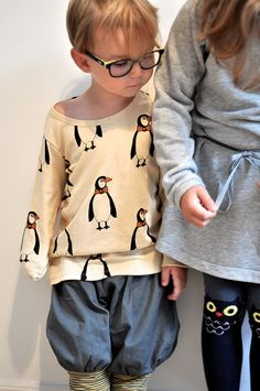 small style by Paul+Paula, with Mini Rodini Penguin tee and Emile et Ida gray dress, by Loja Dada for Kids