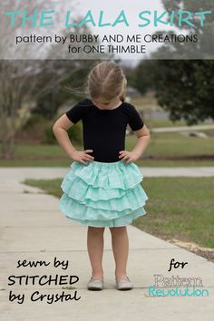 Fun ruffle skirt sewing pattern // Lala skirt sewn by Stitched by Crystal // One Thimble Issue 14-Blog Tour and Pattern Preview — Pattern Revolution