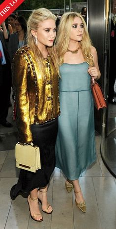 Gorgeous Olsen Twins. Love Ashley's necklace and the Row bags.