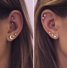 Types Of Ear Piercings, Ear Piercings Rook, Piercing Daith, Second Lobe Piercing, Pretty Ear Piercings, Conch Piercing Jewelry, Body Peircings, Unique Piercings, Daith Earrings