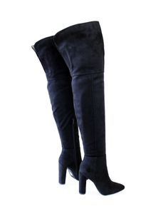 c2d34370815 Stretch Suede Round Covered Thick Heel Thigh High Boots Black Pointy Toe