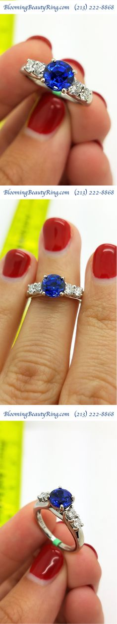 https://www.bloomingbeautyring.com - Sapphire #EngagementRing with a 1.5 carat natural Blue Sapphire with no heat and 4 high quality accent diamonds - Gorgeous Diamond Engagement Ring!!