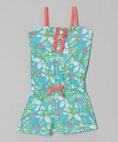 Another great find on #zulily! Clean Blue & Orange Floral Romper - Infant, Toddler & Girls by Kidtopia #zulilyfinds
