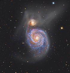 M51: The Whirlpool Galaxy. Follow the handle of the Big Dipper away from the dipper's bowl until you get to the handle's last bright star. Then, just slide your telescope a little south and west and you might find this stunning pair of interacting galaxies