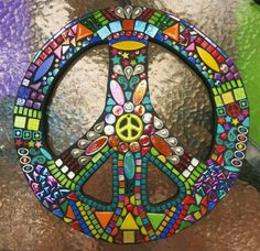 "CUSTOM PEACE Sign - 16"" Round - Custom Order in Your Colors - Glass Gems, Stones, Ceramic, Glitter Tiles, Silver Embellishments - OOAK"
